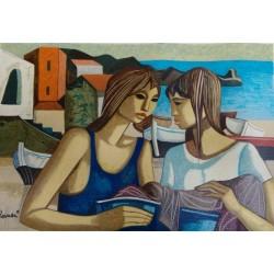 Lucio Ranucci-conversazione-al-piccolo-porto-serigrafia-60×40